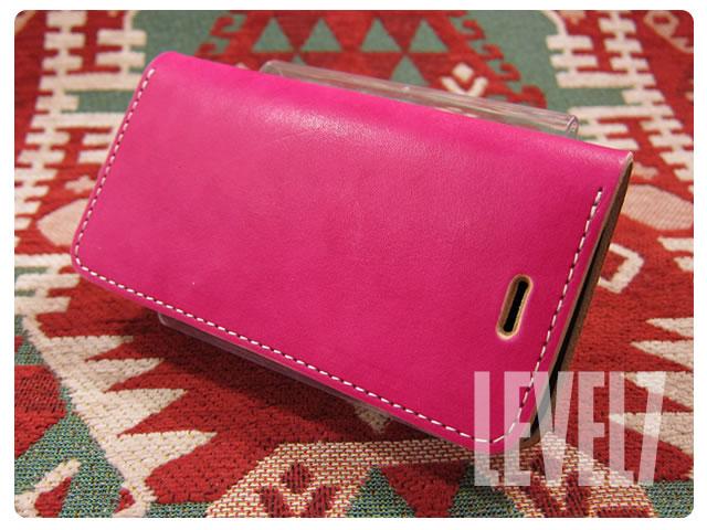LEVEL7/レベルセブン iphone6/iphone6sケース/アイフォン6/6S 手帳型ケース 日本製/MADE IN JAPAN ハンドメイド ビビットピンク