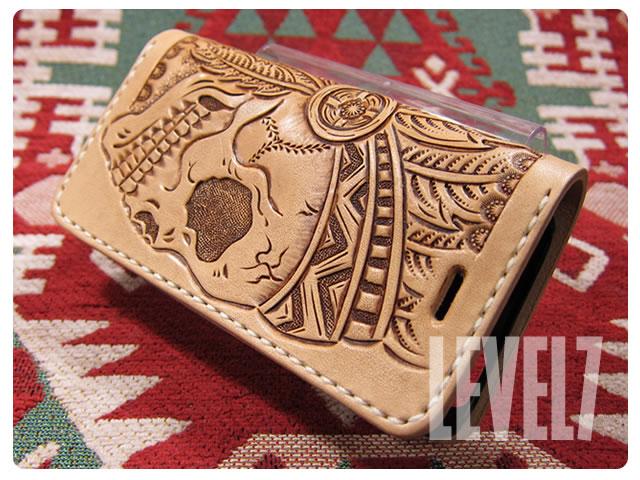LEVEL7/レベルセブン iphone6/iphone6sケース/アイフォン6/6S 手帳型ケース 手彫り 総手縫い 本革/レザー SKULL/スカル デザインカービング ハンドメイド IP6-H001SK1