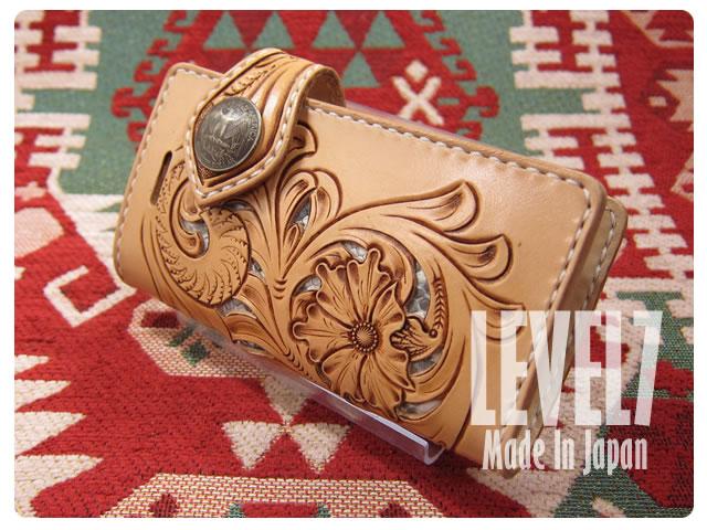 iphone6/iphone6sケース/アイフォン6/6S 手帳型ケース 手彫り 手縫い 本革/レザー フィリグリー/透かしフラワーカービング 本革パイソン ハンドメイド IP6-H002B3-FF1 LEVEL7/レベルセブン